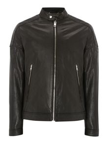 Leather biker zip up jacket