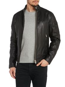 L-Monike Zip Up Leather Biker Jacket