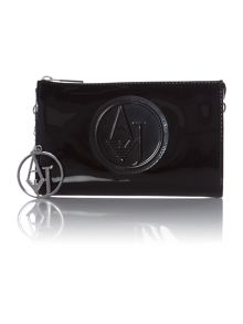 Black small cross body patent bag