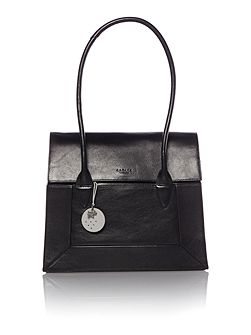 Border black large flap over tote bag