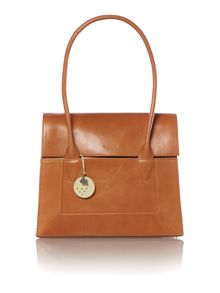 Border tan large flap over tote bag