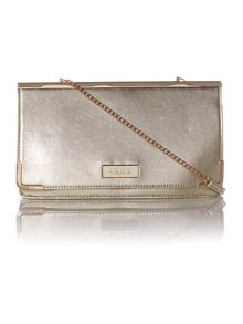 Metallic cross body clutch bag