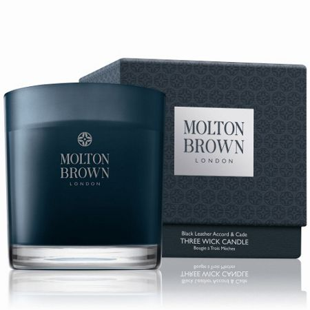 Molton Brown Black Leather Accord & Cade Three Wick Candle
