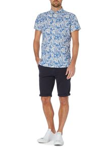 Fraser leaf print short sleeve shirt