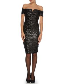Off the shoulder sequin bodycon dress