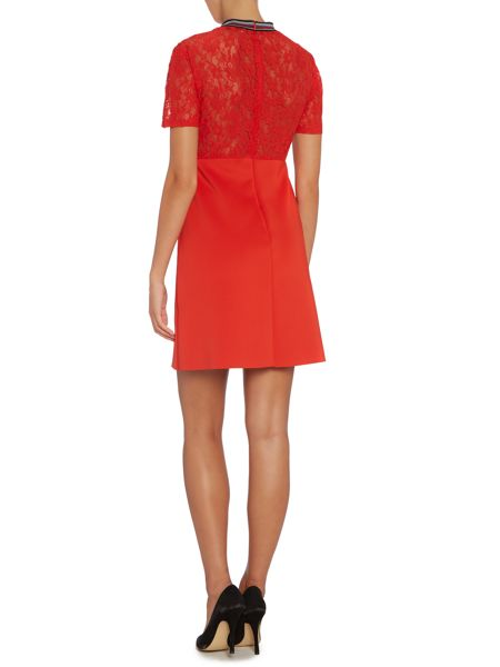 Sportmax Code Embellished lace neck jersey dress
