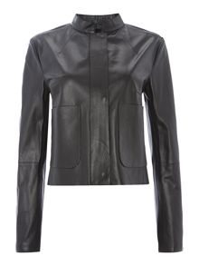 Longsleeve leather jacket with pocket detail