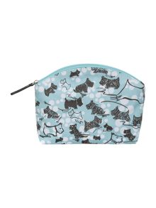 Cherry blossom dog blue small zip cosmetic bag