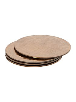 Copper metal coasters set of 4