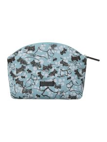 Cherry blossom dog blue medium zip cosmetic bag