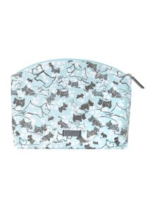Cherry blossom dog blue large zip cosmetic bag