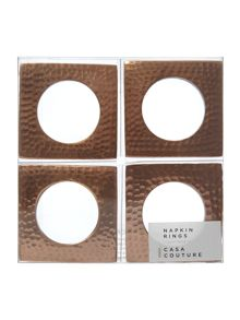 Casa Couture Copper metal napkin ring set of 4