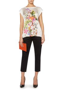 Woven front floral top