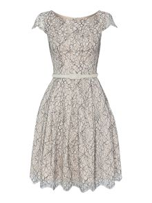 Cap sleeve floral lace dress with belt
