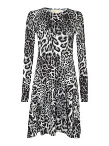 Leopard print knitted flare dress