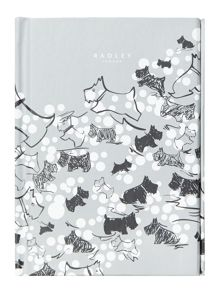 Cherry blossom dog grey A5 notebook