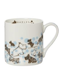 Cherry blossom dog blue single mug