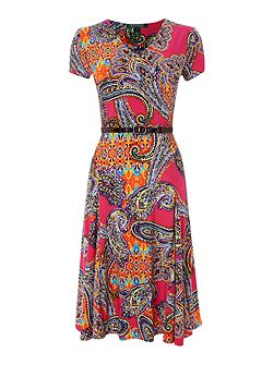 Short sleeved v neck paisley print dress