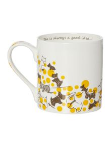 Cherry blossom dog yellow single mug