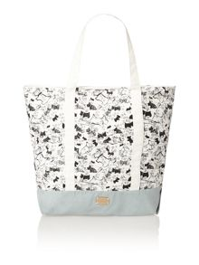 Cherry blossom dog grey large tote bag
