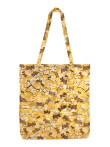 Cherry blossom dog yellow foldaway tote bag