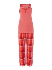 Cyberjammies Suki check pant and vest pyjama set
