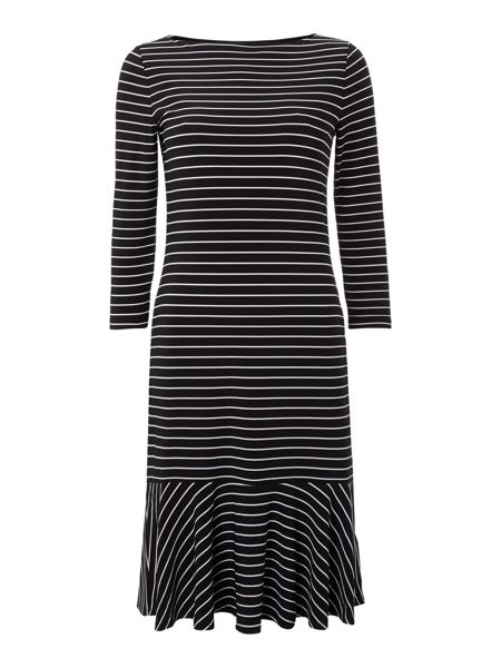 Lauren Ralph Lauren 3/4 sleeved striped boatneck dress