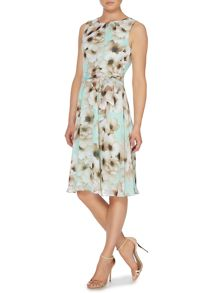 Sleeveless chiffon floral midi with belt
