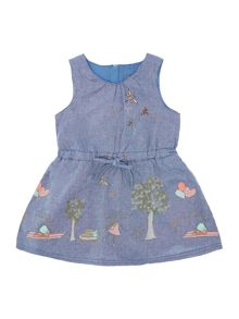 Girls denim dress with print