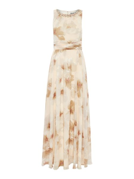 Eliza J Floral printed maxi with jeweled neck