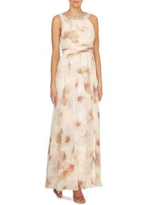 Floral printed maxi with jeweled neck
