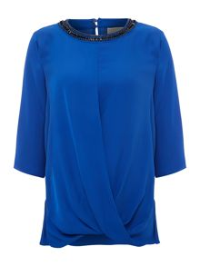 Michael Kors Embellished neck silk top