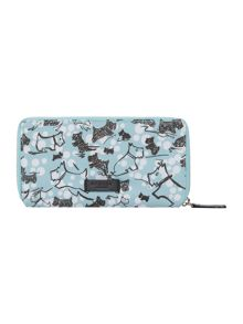 Cherry blossom dog blue large zip around purse