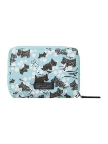 Cherry blossom dog blue medium zip around purse