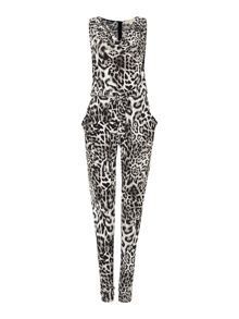 Strappy animal print jumpsuit