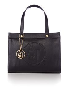Logo charm black medium tote bag