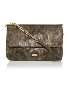 Metallic snake flapover clutch bag