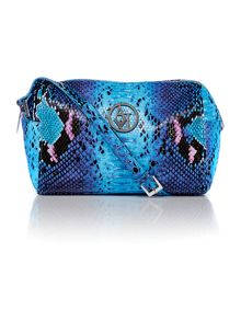 Blue snake cross body bag