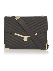 Black quilted flapover shoulder bag