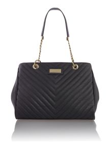 Black quilted chain tote bag