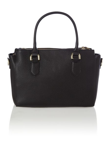 Juno Black double zip pebble tote bag