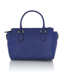 Blue double zip pebble tote bag
