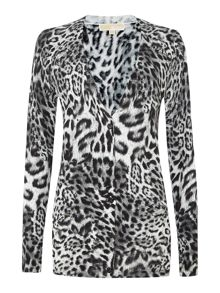Knitted animal print cardigan