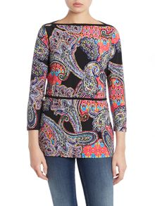 3/4 sleeved boatneck tunic top