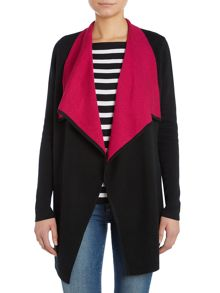 Long sleeved draped front wool cardigan