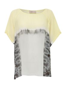 Colour block tie dye woven top