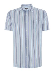 Howick Parker Seersucker Striped Short Sleeve Shirt