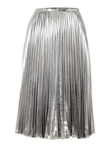 Metallic foil pleated skirt