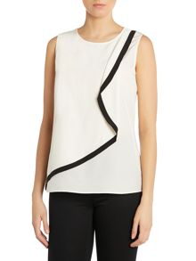Ruffle front sleeveless silk top