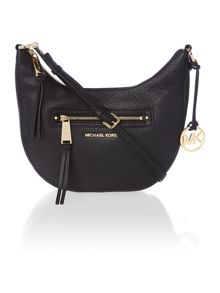 Rhea zip black small cross body hobo bag